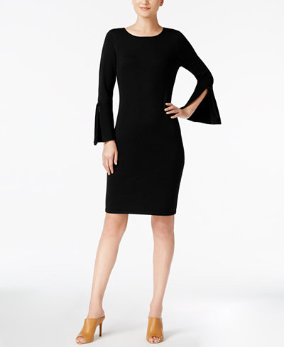 Calvin Klein Bell-Sleeve Ribbon-Trim Sweater Dress