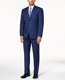 Sean John Men's Classic-Fit Dusty Blue Windowpane Stretch Suit Separates