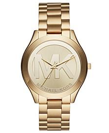 Unisex Slim Runway Gold-Tone Stainless Steel Bracelet Watch 40mm