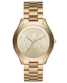 Michael Kors Unisex Slim Runway Gold-Tone Stainless Steel Bracelet Watch 40mm