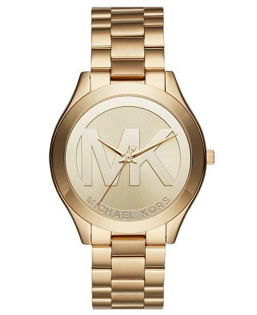 11e7deeb57e8 Michael Kors Unisex Slim Runway Gold-Tone Stainless Steel Bracelet Watch  40mm ...