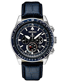 Seiko Men's Solar Chronograph Prospex Blue Leather Strap Watch 45mm