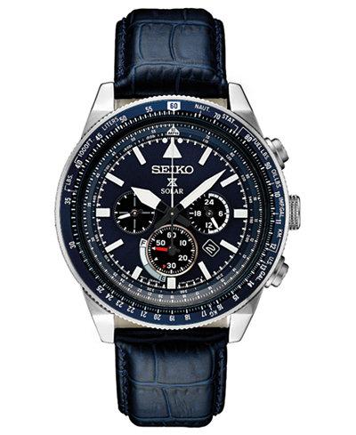 Seiko Men's Solar Chronograph Prospex Blue Leather Strap Watch 45mm
