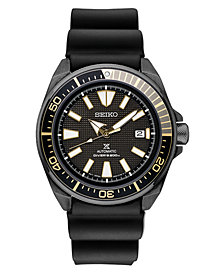 Seiko Men's Automatic Prospex Diver Black Silicone Strap Watch 44mm