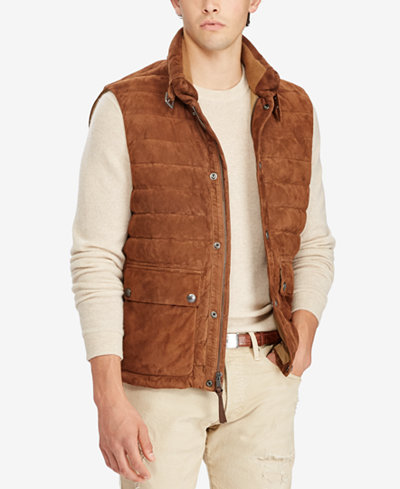 Polo Ralph Lauren Men's Quilted Suede Down Vest - Coats & Jackets ... : ralph lauren quilted vest mens - Adamdwight.com