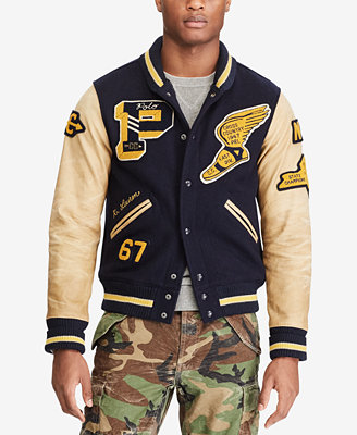 Macys has Designer Mens Varsity Jackets, Colorblocked Mens Varsity Jackets and more! Macy's Presents: The Edit- A curated mix of fashion and inspiration Check It Out. Free Shipping with $75 purchase + Free Store Pickup. Contiguous US. Polo Ralph Lauren Men's Cotton Patch Varsity Track Jacket.