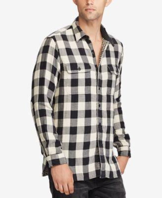 Polo Ralph Lauren Big /& Tall Men/'s Gray Plaid Cotton Flannel Button Front Shirt