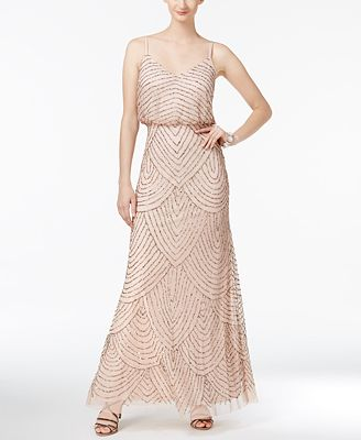 Adrianna Papell Beaded Blouson Gown Dresses Women Macys