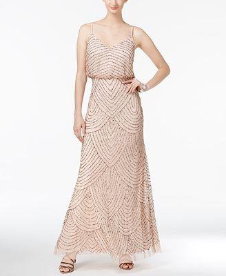 Adrianna Papell Beaded Blouson Gown Dresses Women Macy S