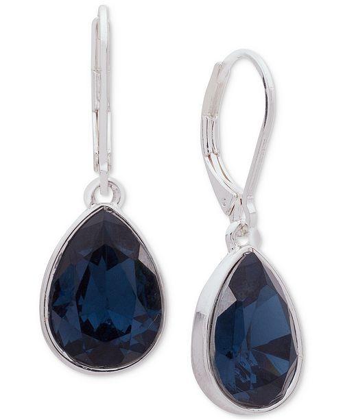 Nine West Silver-Tone Blue Stone Drop Earrings