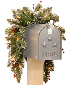 3' Glittery Mountain Spruce Mailbox Swag With Pine Cones, Berries & 35 Battery-Operated LED Lights