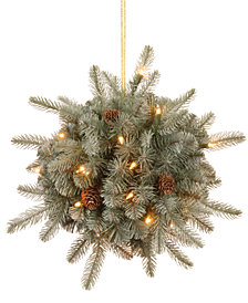 "National Tree Company  12"" ""Feel Real"" Frosted Arctic Spruce Kissing Ball with Cones & 35 LED Lights with Timer"
