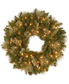 "National Tree Company  30"" Carolina Pine Wreath with 100 Battery Operated LED Lights"