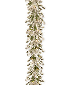 National Tree Company 9' Feel Real® Snowy Sheffield Spruce Garland With 70 Clear Lights