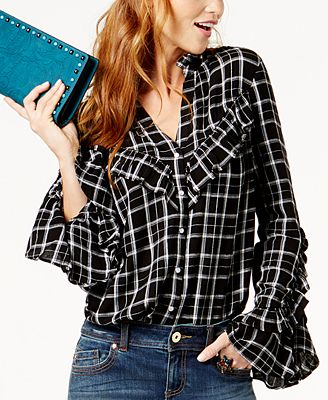Anna Sui Loves INC International Concepts Plaid Ruffled Shirt, Created for Macy's