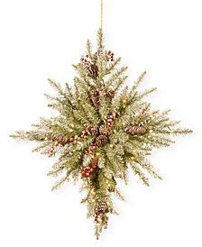 """National Tree Company 32"""" Snowy Dunhill Fir Bethlehem Star With Snow, Pine Cones, Berries & 50 Battery-Operated LED Lights With Timer"""