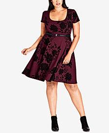 City Chic Trendy Plus Size Birdy Flock Fit & Flare Dress