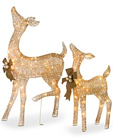 "Crystal Splendor Champagne 38"" Doe & 28"" Fawn With 105 Total Mini Lights, Set of 2"