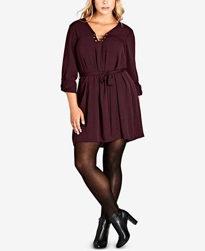 City Chic Trendy Plus Size Hardware Tunic Dress