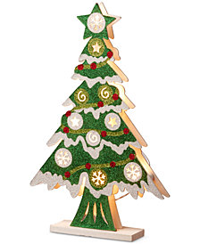 "National Tree Company 17"" Wood-Look Double Sided Tree With 10 Battery-Operated LED Lights"