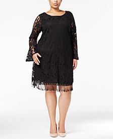 ING Plus Size Lace Fringe-Trim Dress