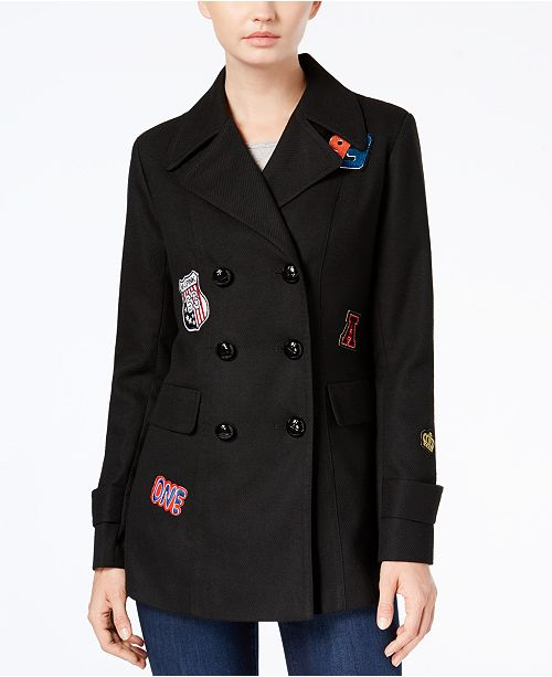 BCX Juniors' Double-Breasted Patched Peacoat