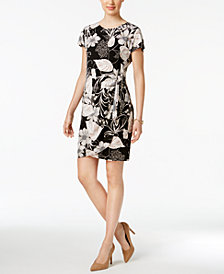 Robbie Bee Petite Printed Faux-Wrap Sheath Dress