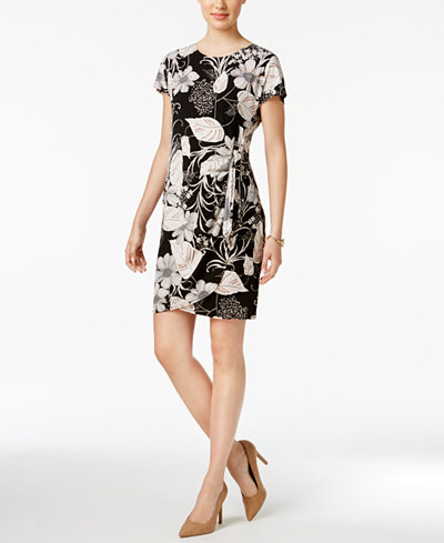 Robbie Bee Petite Printed Faux-Wrap Sheath Dress