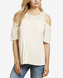 Jessica Simpson Maternity Lace-Trim Cold-Shoulder T-Shirt