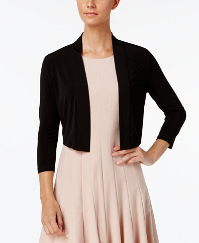 Calvin Klein Three-Quarter-Sleeve Open-Front Shrug - Sweaters ...