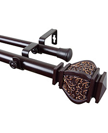 "Rod Desyne Margot 1"" Decorative Double Curtain Rod 160""-240"""
