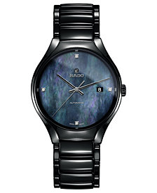 Rado Unisex Swiss Automatic True Diamond-Accent Black High-tech Ceramic Bracelet Watch 40mm