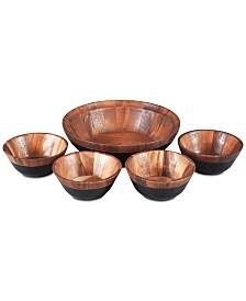 Noritake Serveware, Kona Wood 5 Piece Salad Set
