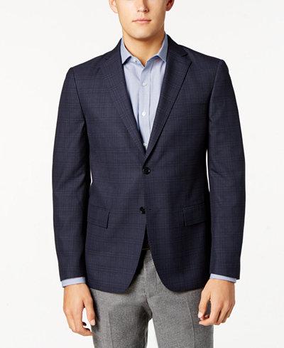 Ryan Seacrest Distinction™ Men's Slim-Fit Blue & Gray Windowpane Sport Coat, Created for Macy's