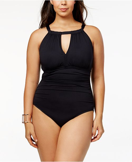 2e2190187b8 ... Lauren Ralph Lauren Plus Size Slimming Fit High-Neck Keyhole One-Piece  Swimsuit ...