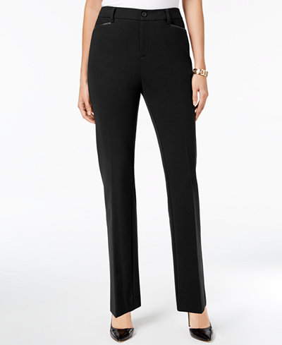 Charter Club Faux-Leather-Trim Straight-Leg Pants, Created for Macy's