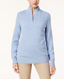 Karen Scott Marled-Knit Quarter-Zip Sweater, Created for Macy's