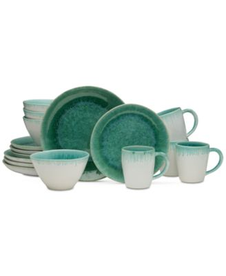 Aventura Green 16-Piece Dinnerware Set, Service for 4