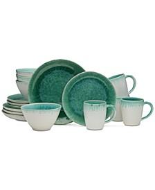 Aventura Green 16-Piece Dinnerware Set, Service for 4