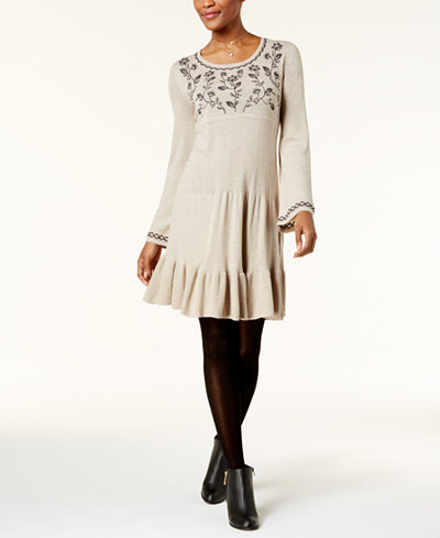 Style & Co Embroidered Sweater Dress, Created for Macy's