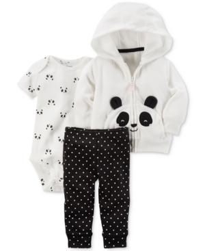 Carters 3Pc Panda Hoodie Bodysuit  Pants Set Baby Girls (024 months)