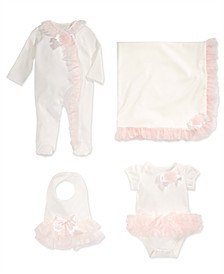 Tulle-Trim Bib, Bodysuit Coverall & Blanket, Baby Girls, Created for Macy's