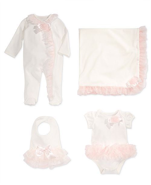 First Impressions Tulle-Trim Bib, Bodysuit Coverall & Blanket, Baby Girls, Created for Macy's
