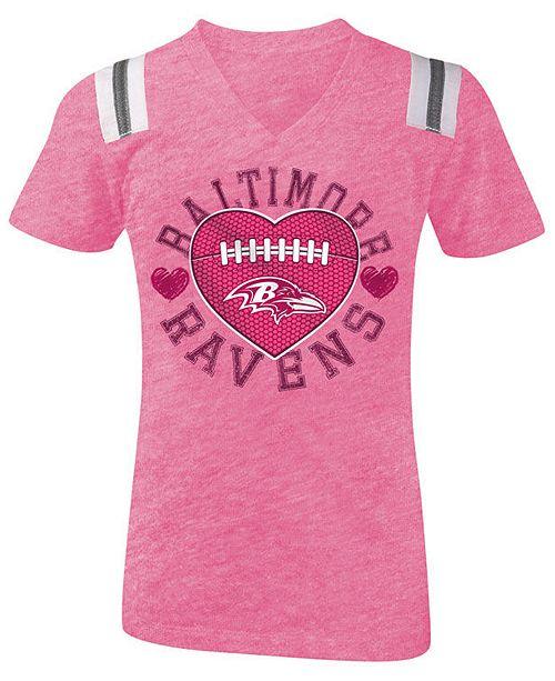 on sale 881e4 37076 5th & Ocean Baltimore Ravens Pink Heart Football T-Shirt, Girls