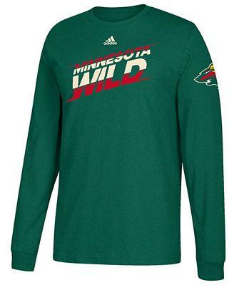 Adidas hombre 's Minnesota Wild línea Shift Long Sleeve T Shirt Sports