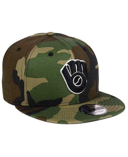 new concept 3e78f 41215 ... New Era Milwaukee Brewers Woodland Black White 9FIFTY Snapback Cap ...