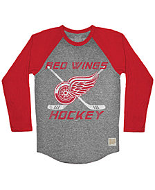 Retro Brand Men's Detroit Red Wings Reggie Raglan Long Sleeve T-Shirt