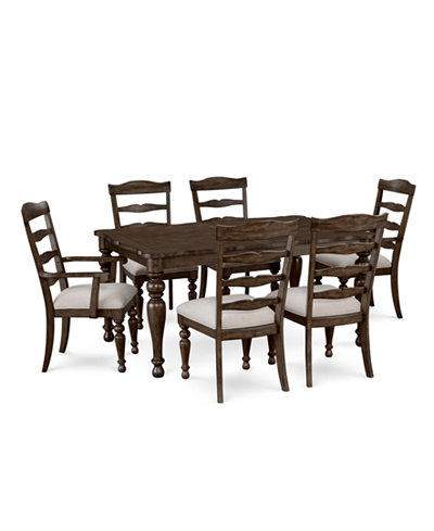 CLOSEOUT! Hamilton Expandable Dining Furniture, 7-Pc. Set (Dining Table, 4 Side Chairs & 2 Arm Chairs), Created for Macy's