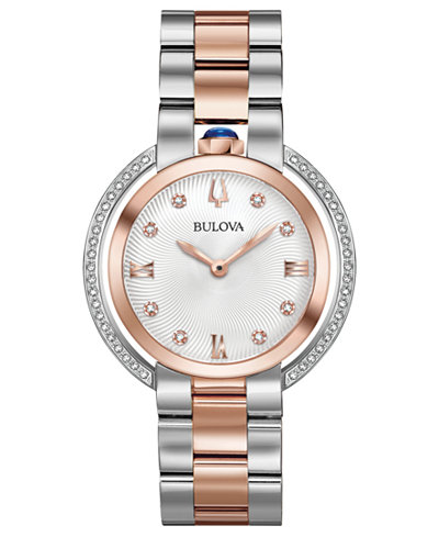Bulova Women's Rubaiyat Diamond (1/4 ct. t.w.) Two-Tone Stainless Steel Bracelet Watch 35mm