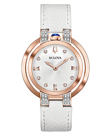 Bulova Women's Rubaiyat Diamond (1/6 ct. t.w.) White Leather Strap Watch 35mm